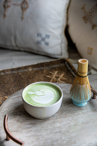 Cardamom Matcha Latte with Matcha whisk