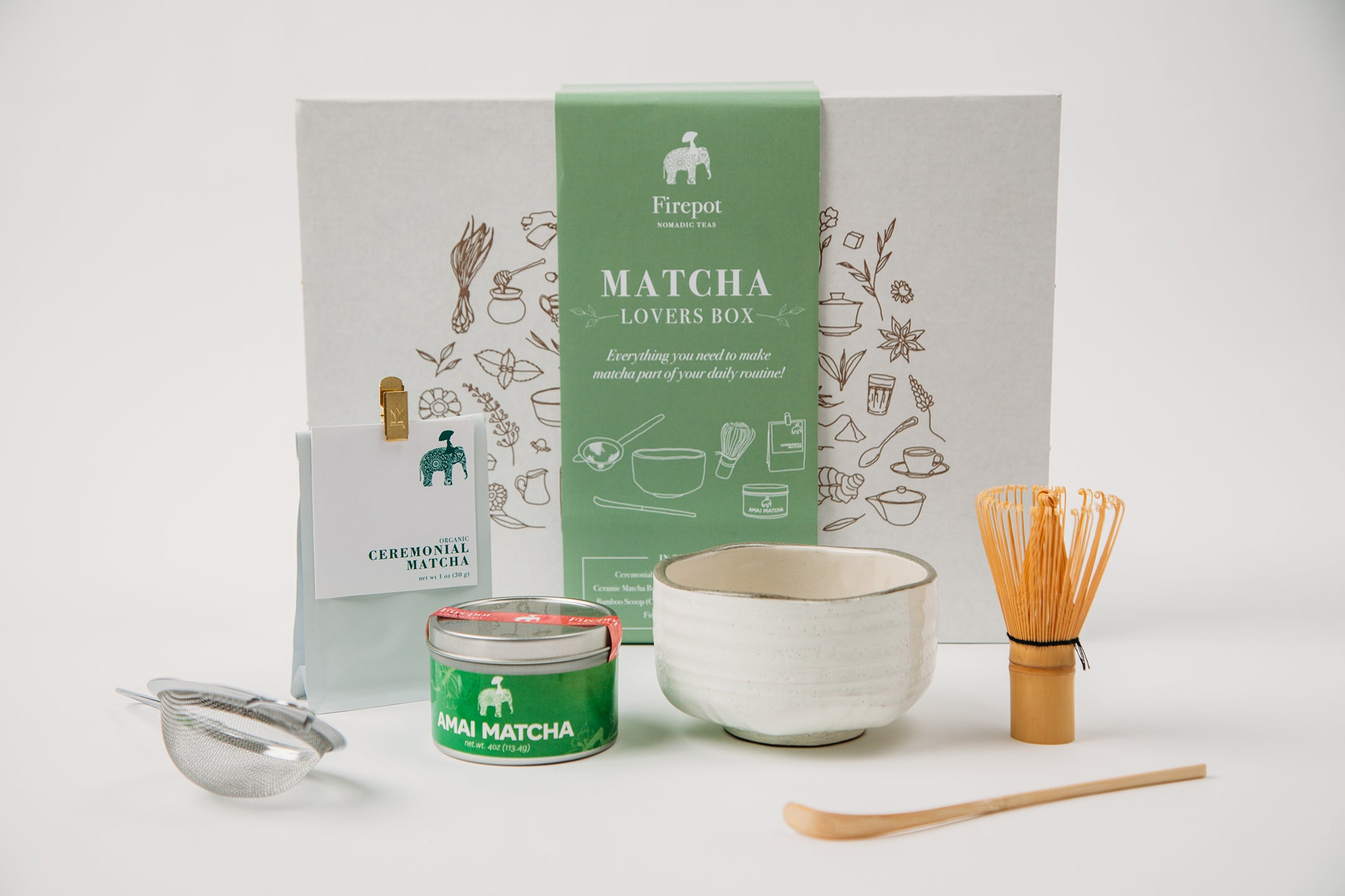 Firepot Matcha Lovers Box with Ceremonial Grade Matcha, Amai Matcha, Ceramic Matcha Bowl, Matcha Whisk, Bamboo Matcha Scoop, Stainless Steel Matcha Strainer