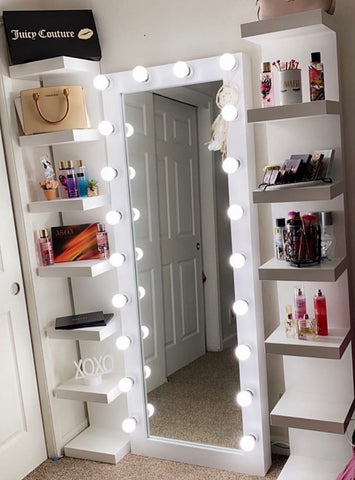 Full length lighted vanity mirror