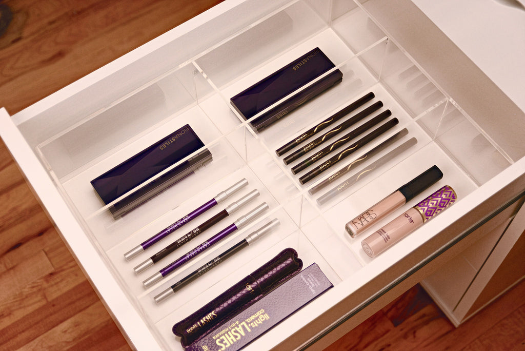 Acrylic Compact Makeup Drawer Organizer For Ikea Alex Sets Insert