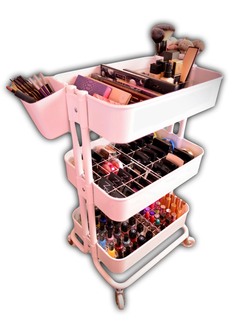 Rolling Makeup Cart Beauty Nail Salon Cosmetic Organization Ikea™ Alex™ Sonny™ Cosmetics
