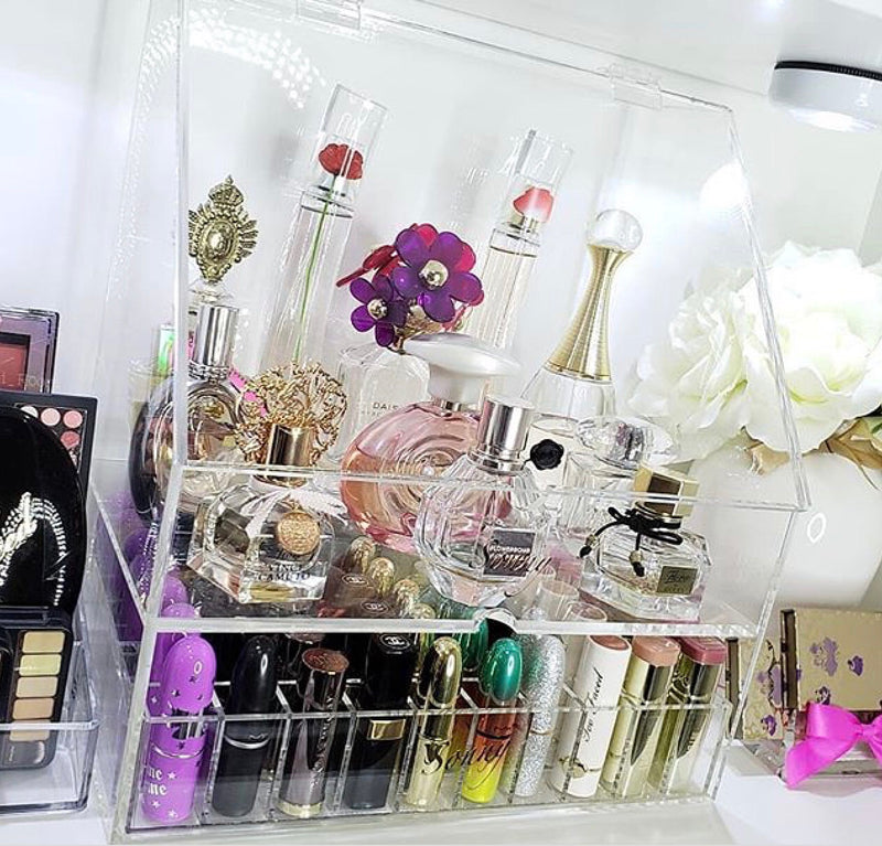 Makeup Organizer Vanity Top Bathroom Acrylic Organizer Perfume Holder Makeup Brush Lipstick Makeup Organizer Beauty Box Cosmo Cube Impressions Vanity