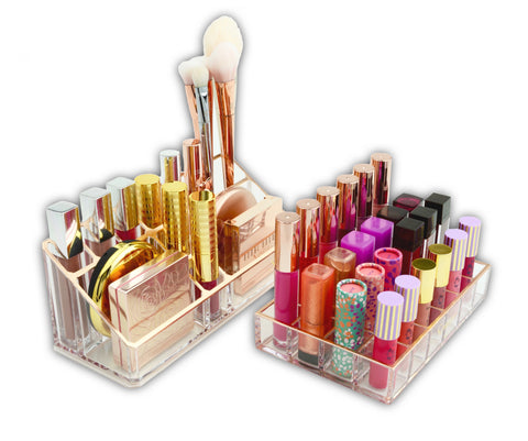 Rose Gold Makeup Organizer Vanity Top Acrylic Worlds Best  Brush Holder Lipstick Blush Organizer