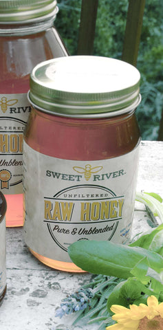 Sweet River Honey - Premium 24 oz. Glass Jar