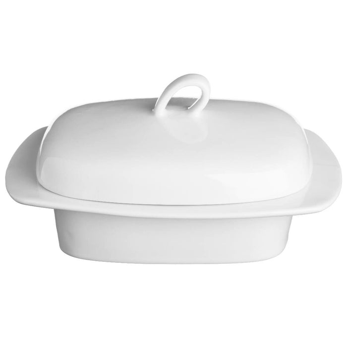 Price & Kensington 0059.418 Simplicity White Butter Dish with Lid