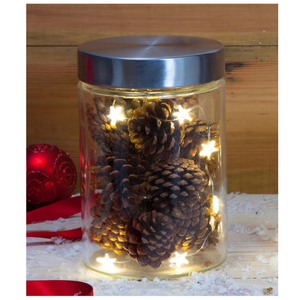 Noma 1016002 LED Glass Jar & Pine Cones 16.5cm