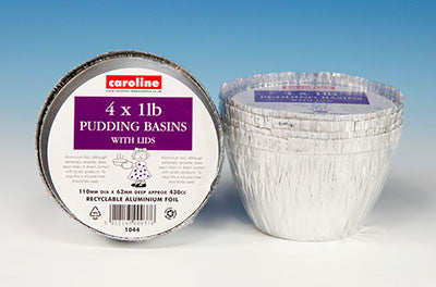 Caroline 1044 Aluminium Foil 1lb Pudding Basins with Lids Pkt4