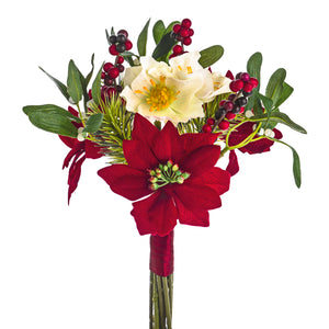 Artificial 11126107 Poinsettia Christmas Bunch Length 31cm