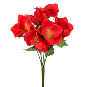 Artificial 135712 Christmas Rose Bush with 6 Red Heads Length 29cm