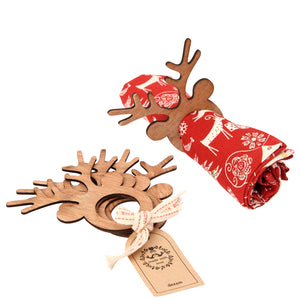 Dexam 16050377 Made With Love Reindeer Wooden Napkin Rings Pkt4