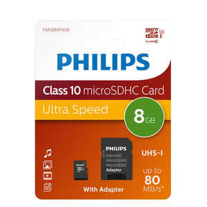 Philips FM08MP45B/10 MSDHC Memory Card 8GB Class 10 with Micro SD Adapter