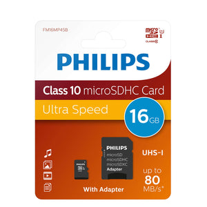 Philips FM16MP45B/00 MSDHC Memory Card 16GB Class 10 with Micro SD Adapter