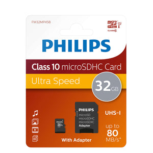 Philips FM32MP45B/00 MSDHC Memory Card 32GB Class 10 with Micro SD Adapter