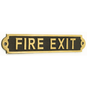 Brass SP534/PBL Metal Sign 27.1x5.2cm - Fire Exit