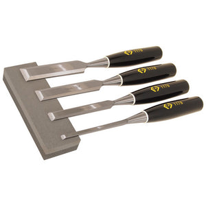 C.K T1180 Bevel Edge Wood Chisels 4Pce & Sharpening Stone Set