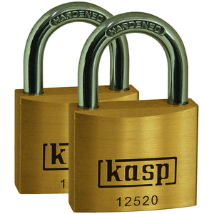 Kasp  K12520C2 Premium Brass Padlock 20mm - Twin Pack