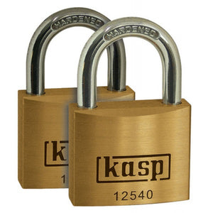Kasp K12540D2 Premium Brass Padlock 40mm - Twin Pack
