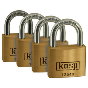 Kasp K12540D4 Premium Brass Padlock 40mm - Quad Pack