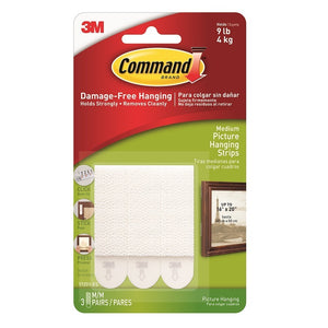 Command 17201 3 Medium White Picture Hanging Strips