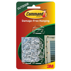 Command 17017CLR 16 Outdoor Light Clips with Clear Strips
