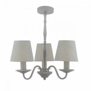Dar JOA0339 Joanna 3 Light Ceiling Pendant Grey Complete With Grey Shades