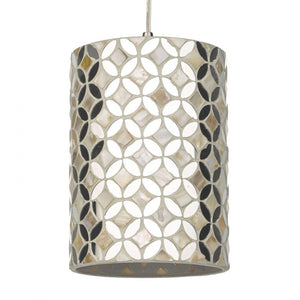 Dar ACQ8668 Acquila Easy Fit Pendant Shade Mirror & Cream 16cm Dia