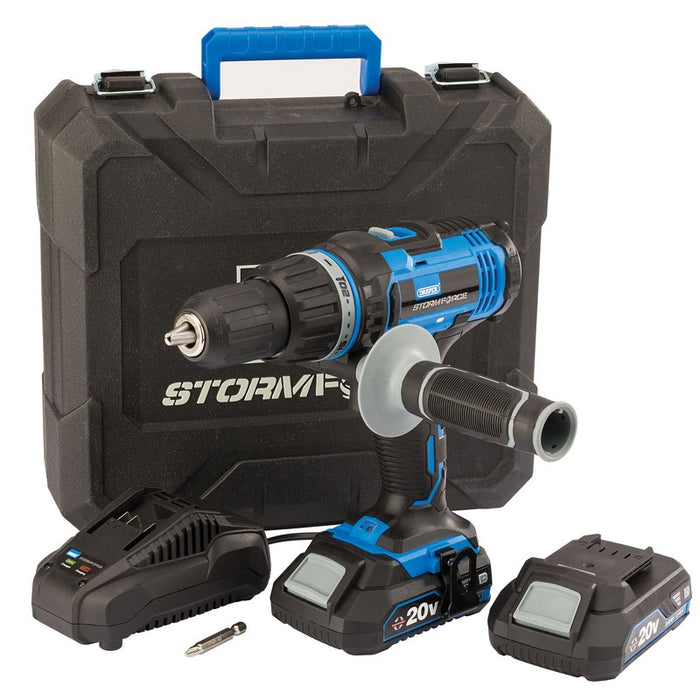 Draper 89523 Storm Force 20V Hammer Drill with Two Li-Ion Batteries