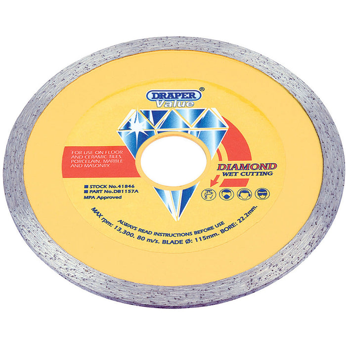 Draper 41846 115 x 22.2mm VALUE DIAMOND BLADE