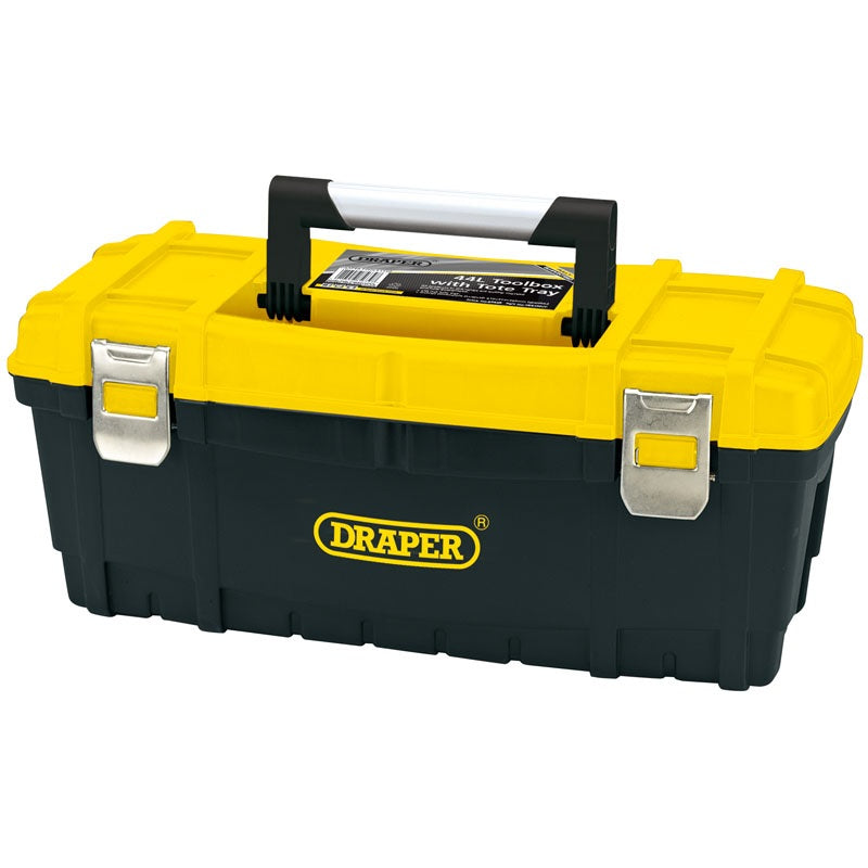 "Draper 85639 Toolbox 24"" With Tote Tray - Yellow & Black"