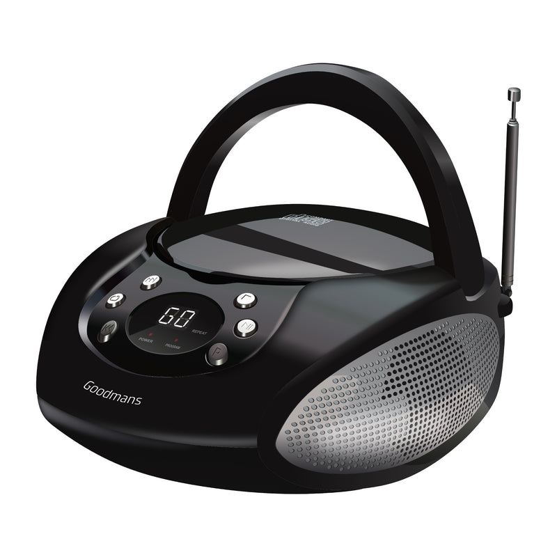 Goodmans GPS06BLK Portable CD Radio Boombox - Black
