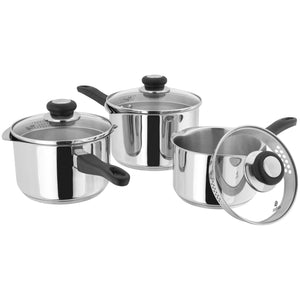 Judge Vista J3A1 3 Piece Deep Draining Saucepan Set