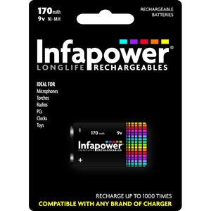 Infapower B007 Rechargeable 9V Battery 170mAh