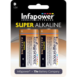 Infapower B704 1.5V D size Super Alkaline Battery - Pack of 2