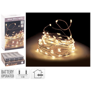 Silver Wire Lights 40 LED - Warm White