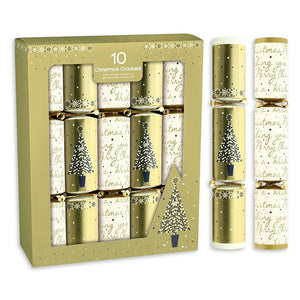 Giftmaker Collection XAHGS504 Cream & Gold Christmas Crackers Pkt10