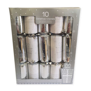 Giftmaker Collection XAHGS500 Christmas Crackers Pkt10 - Silver/White