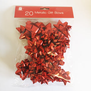 Giftmaker XAHGA335 Metallic Gift Bows Red - Pack of 20