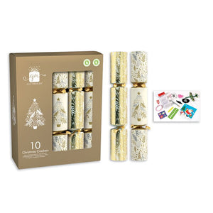 Giftmaker Collection XAKGS504 Cream & Gold Christmas Crackers Pkt10