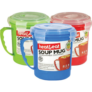 Heat & Eat Microwave Soup Mug - Assorted Colours
