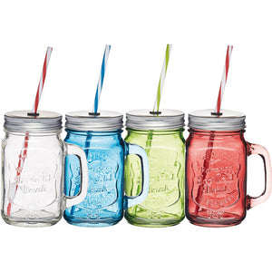 KitchenCraft Glass Drinks Jar & Straw