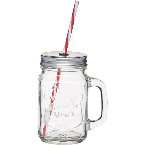 KitchenCraft KCHMGLSJUG Glass Drinks Jar & Straw - Clear