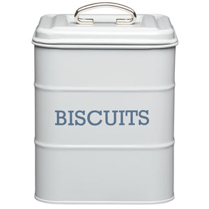 Living Nostalgia LNBISCGRY Metal Biscuit Tin - Grey