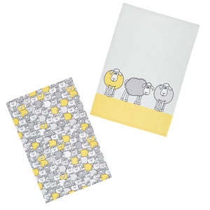 Kitchencraft KCSHEEPTTPK2 Tea Towels Set of 2 - Yellow Sheep