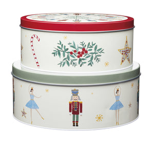 Kitchencraft KCXMCAKETIN2PC Nutcracker Collection Round Cake Tins Set of 2