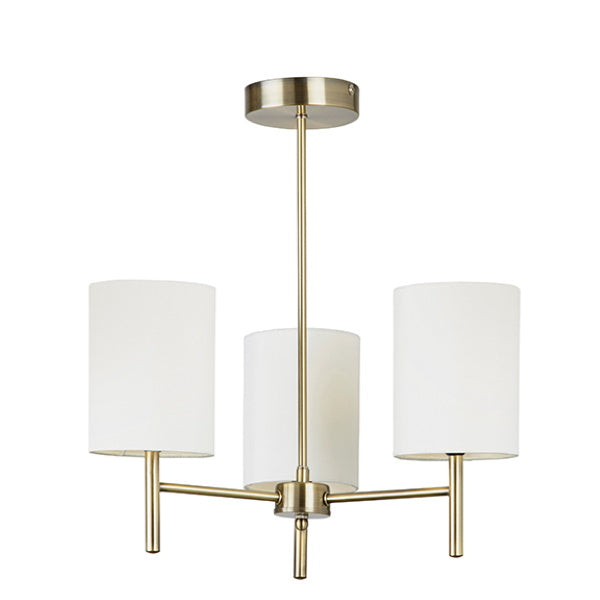 Endon Lighting BRIO-3AB Brio 3Lt Semi Flush Light - Antique Brass