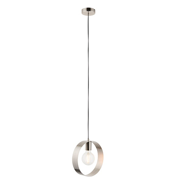 Endon Lighting 90454 Hoop 1Lt Ceiling Pendant - Brushed Nickel