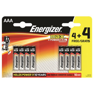 Energizer S10054 (LR03) AAA Max Alkaline Batteries Pkt4 + 4 Free