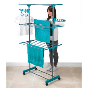 Beldray LA023773TQ Turquoise 3 Tier Deluxe Clothes Airer