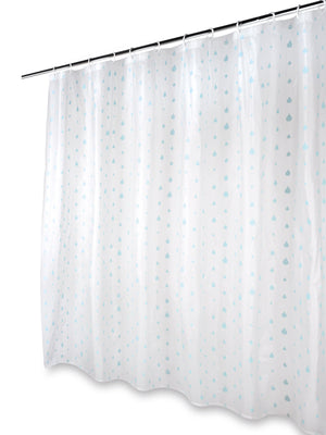 Beldray LA041692RAQ Raindrops Shower Curtain with Hooks, 180x180cm White