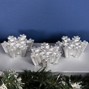 Widdop Bingham XM3019 Silver Snowflake Candles Pack of 3